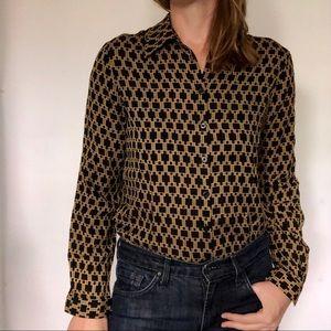 Vintage Jones New York Gold/Black Silk Blouse